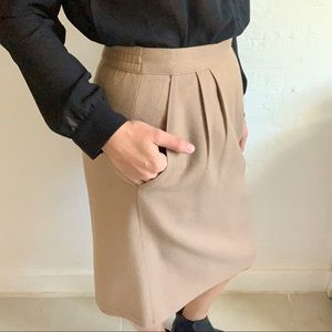Vintage Camel colored wool pencil skirt